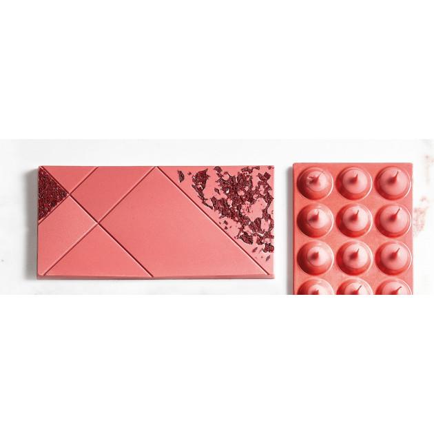 Tablette de Chocolat Rose. Chocolat Rubis Callebaut