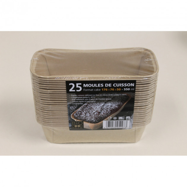 Moule de cuisson papier cake 176 mm - 550 ml Bio Food Pack