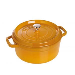 FIN DE SERIE STAUB Cocotte Fonte Ronde 20 cm Jaune Moutarde 2,2 L
