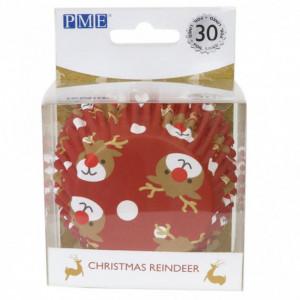 Caissette cupcake Renne de Noël x30 PME
