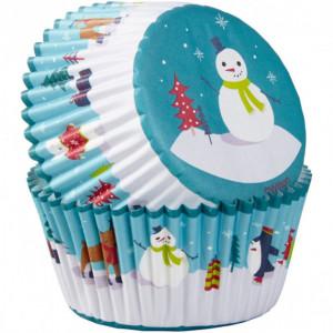 Caissette Cupcake Bonhomme de Neige et ses Amis x75 Wilton