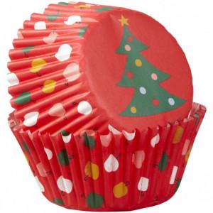 Caissette Cupcake Sapin et Décorations de Noël x75 Wilton