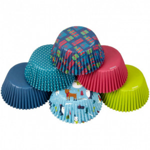 Caissettes Cupcakes Noël Motifs Assortis x150 Wilton