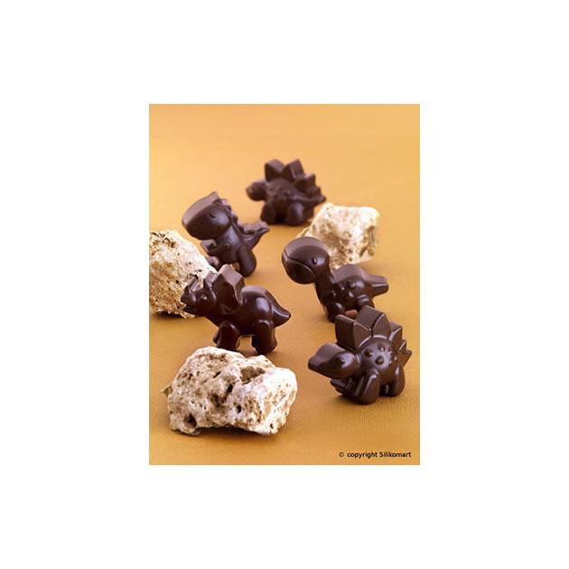 Dinosaures en Chocolat realises avec le moule Silicone Easy Choc