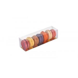 Boîte 6 Macarons Transparente Fond Or 18 cm