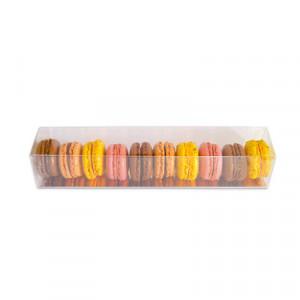 Boîte 9 Macarons Transparente Fond Or 24 cm