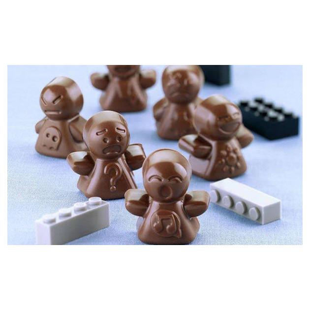 Bonshommes en chocolat realises avec le moule a chocolat en silicone easy choc
