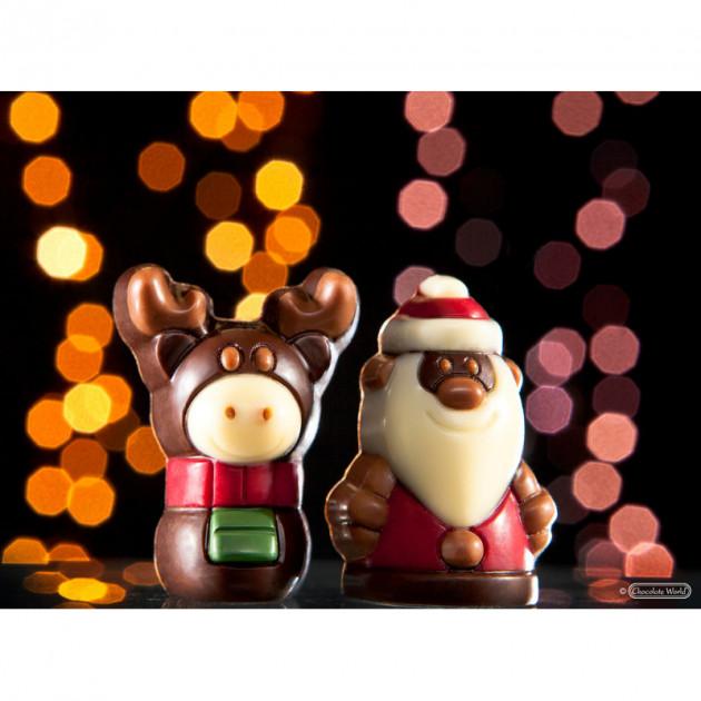 Renne du Pere Noel en chocolat et Pere Noel realises avec les moules a chocolat Chocolate World