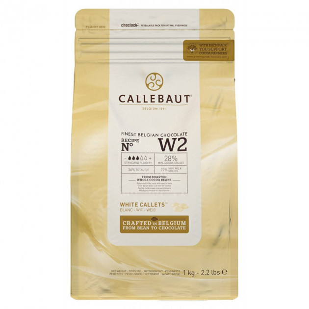 Chocolat Blanc 28% W2 1kg Callebaut