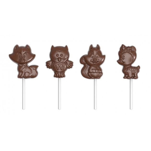 Moule Sucette Chocolat Animaux de la Foret 65 mm (x4) Chocolate World