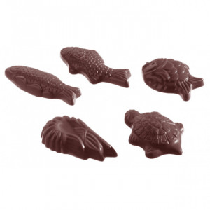 Moule Chocolat Fritures Animaux Marins 38x20mm (x28) Chocolate World
