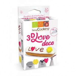 Kit Douilles Inox 3D Love Déco Scrapcooking