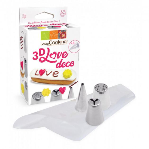 Kit douilles 3D 1 motif rosace 1 motif lisse 1 motif coeur