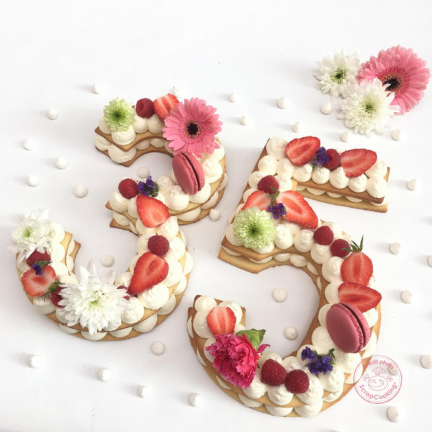 Number Cake realise avec les Gabarits Scrapcooking