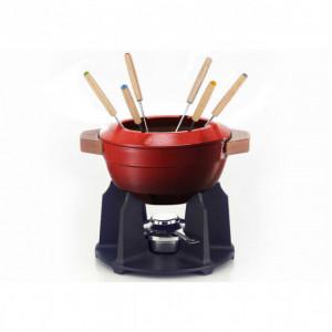 Service à fondue poignées bois Cerise (rouge) Le Creuset