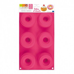 Moule Silicone 6 Donuts ou Babas Ø7,5 x2,8 cm Scrapcooking