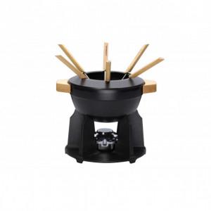 Service à fondue poignées bois Noir Mat Le Creuset