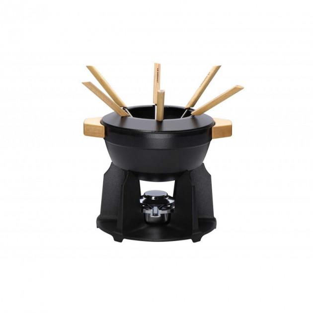 Service a fondue poignees bois Noir Mat Le Creuset