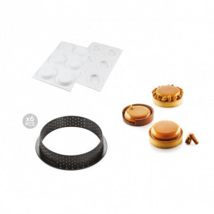 Kit Moule Silicone 6 Tartelettes Ø 80mm Silikomart Professional