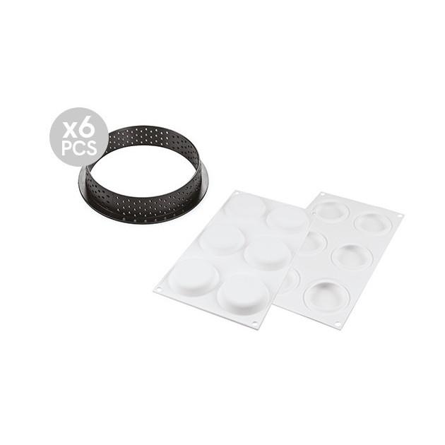 Cercle a tartelette perfore et moule silicone 6 empreintes