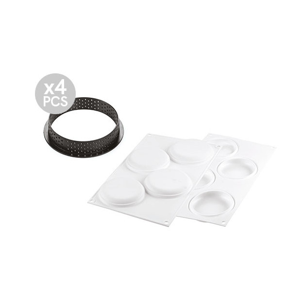 Cercle a tarte perfore et moule silicone 4 empreintes