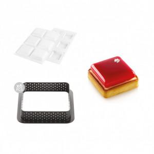 Kit Moule Silicone 6 Tartelettes Carrées 80mm Silikomart Professional