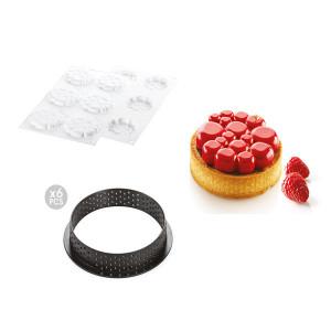 Kit Moule Silicone 6 Tartelettes Ø 80mm Paradis Silikomart Professional