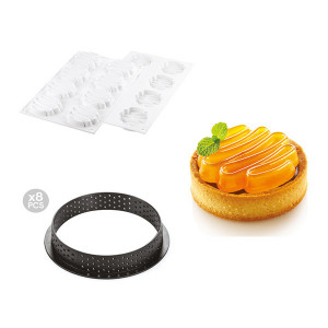 Kit Moule Silicone 8 Tartelettes Ø 80mm Saint Honoré Silikomart Professional