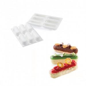 Moule Silicone 6 Eclairs 129 x 40 x h35 mm 140ml SilikoMart Professional