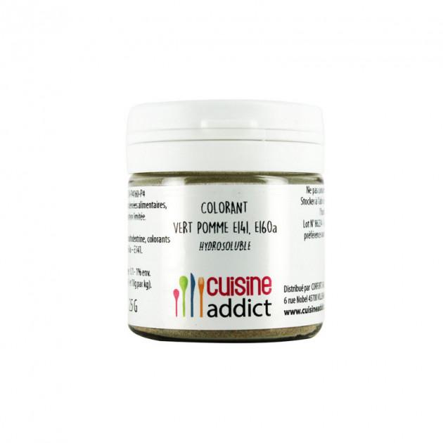 Colorant alimentaire Vert Pomme E141/E160A Poudre Hydrosoluble 25 g Cuisineaddict