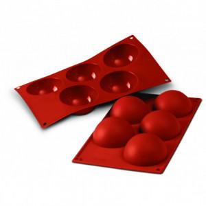 Moule Silicone 5 Demi-sphères 8 cm x H 4 cm Silikomart