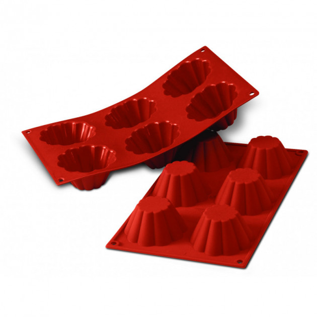 Moule Silicone 6 Brioches Cannelees 7.9 cm x H 3.7 cm Silikomart