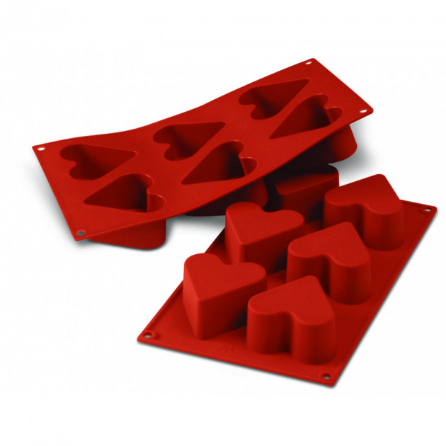 Moule Silicone 6 Coeurs 6.5 cm x H 4 cm Silikomart