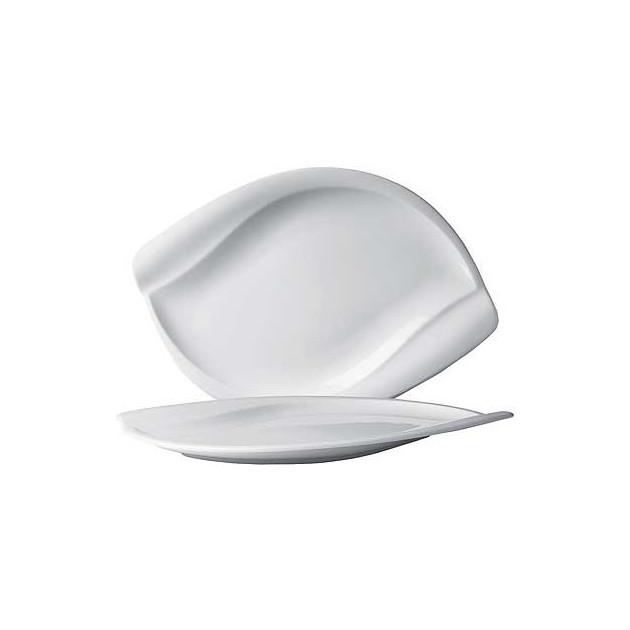 Assiette Plate Porcelaine Leaf 28 x 19 cm (x6) In Situ