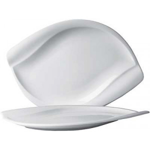 Assiette Plate Porcelaine Leaf 34,5 x 23,5 cm (x6) In Situ