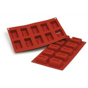 Moule Silicone 10 Savarins Rectangles 6,7 x 3,7 cm Silikomart