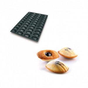 Moule Silicone 44 Madeleines 7,7 x 4,4 x 1,8 cm 32ml SilikoMart Professional