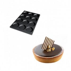 Moule Silicone 12 Fonds de Tarte Biscuit Ø12 x 2,2 cm 120ml SilikoMart Professional