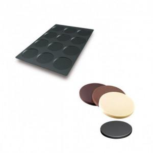 Moule Silicone 12 Fonds de Tarte Biscuit Ø12 x 1 cm 112ml SilikoMart Professional