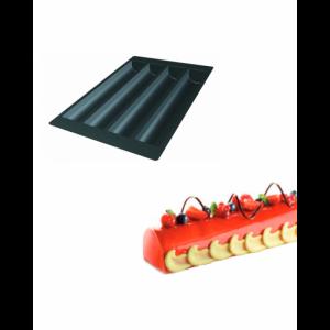 Moule Silicone 4 Bûches Rondes 49,5 x 8 x h 6,3 cm 2137ml SilikoMart Professional