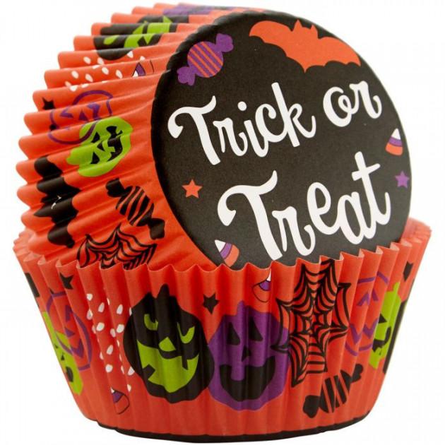 Caissette Cupcake Halloween Trick or Treat ø5cm (x75) Wilton