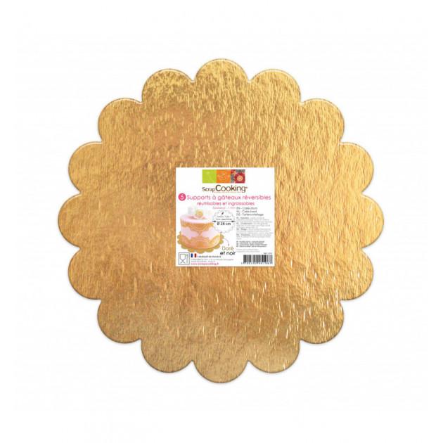 Presentoir gateau carton dore