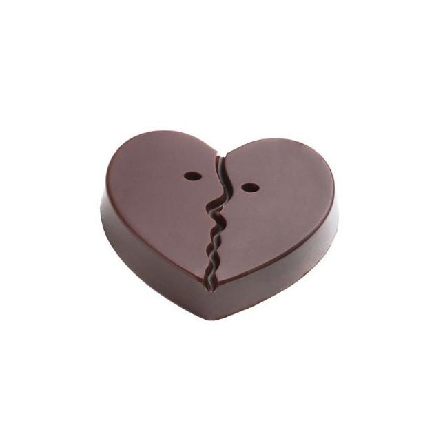 Moule Chocolat Coeur Deux Visages 40x30 mm (x18) Pop Chocolat
