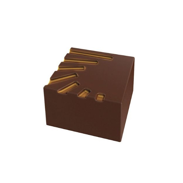 Moule Chocolat Pralines Carrees Striees 25 mm (x28) Pop Chocolat