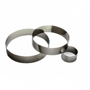 Cercle à Mousse Inox 18 cm x H 4,5 cm Gobel