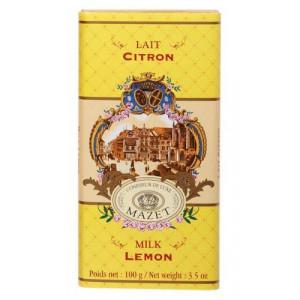 Tablette Chocolat Lait Citron Mazet 100 g