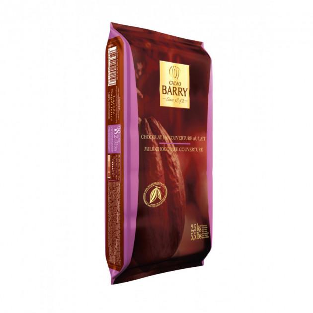 Chocolat Lactee superieure 38.2% plaque 2.5 kg barry