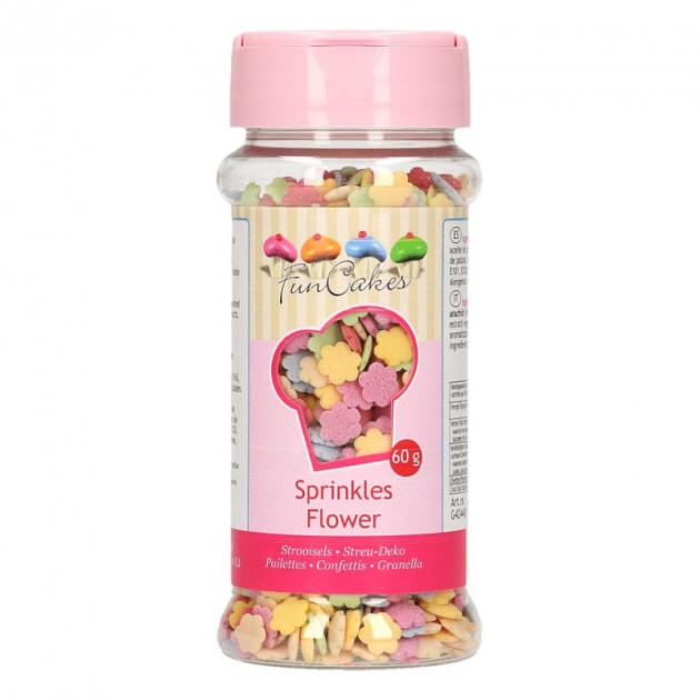 Decors en sucre Fleurs Multicolores 60g Funcakes
