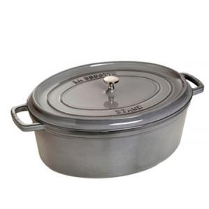 STAUB Cocotte Fonte Ovale 33 cm Gris Graphite 6,7 L