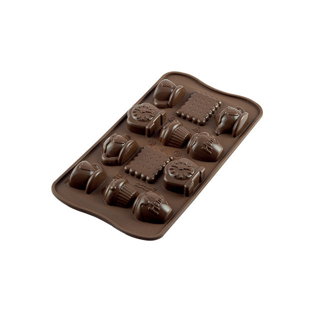 Moule a Chocolat 12 Sujets Tea Time Easy Choc - Silicone Special Chocolat